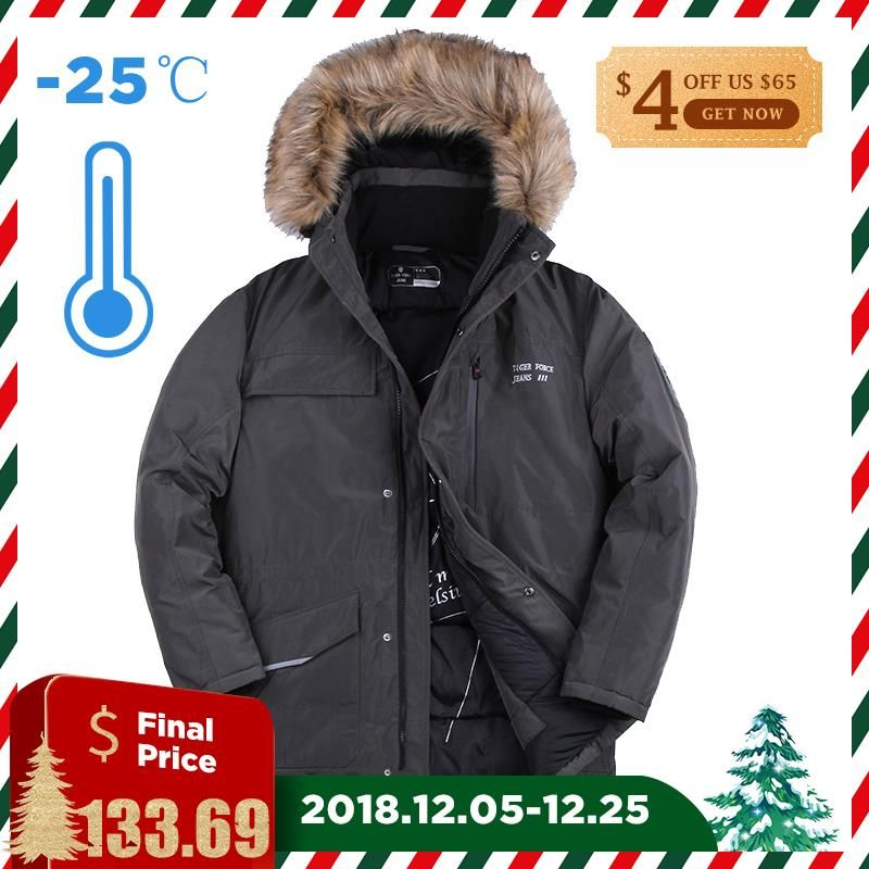 TIGER FORCE 2017 Men Padded Parka Brand Winter Polyester Coat Mens Grey Thicken Long Parkas Artificial Raccoon Fur Free Shipping