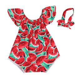 Newborn Baby Girls Watermelon Clothes Kids Summer Casual Sleeveless Red Romper Jumpsuit Outfits Playsuit 0-24M
