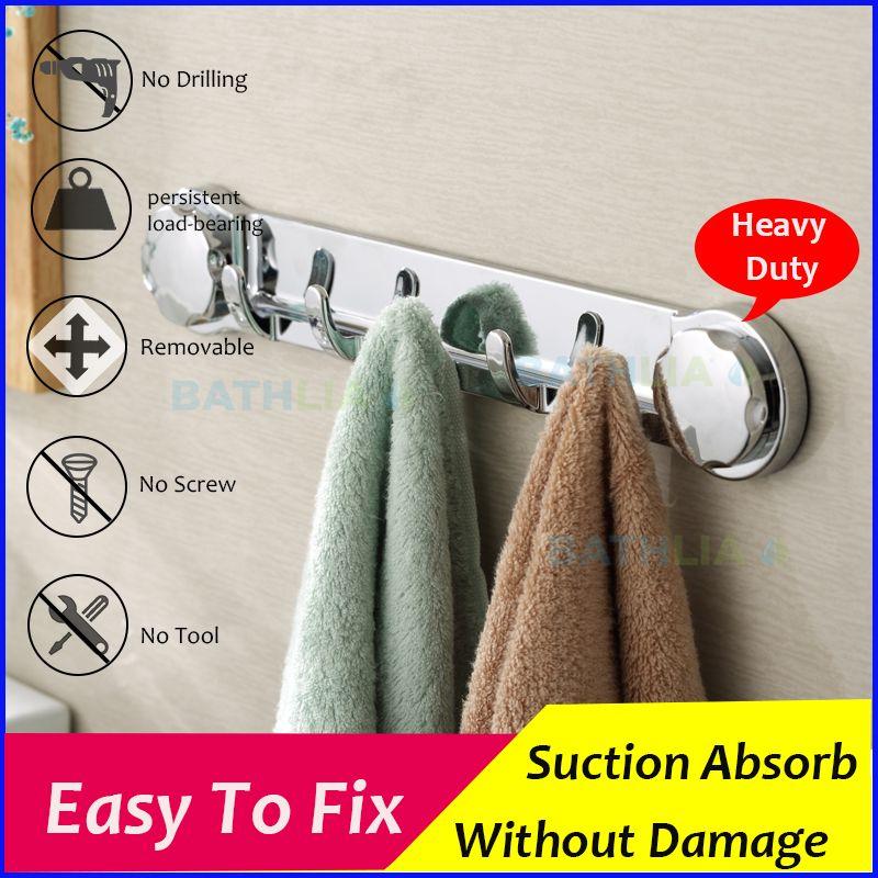 Multi-function sucker Hook Chromed Suction Kitchen Towel Hook Bathroom Accessories Super Wall Hook Kitchen Holder Hanger