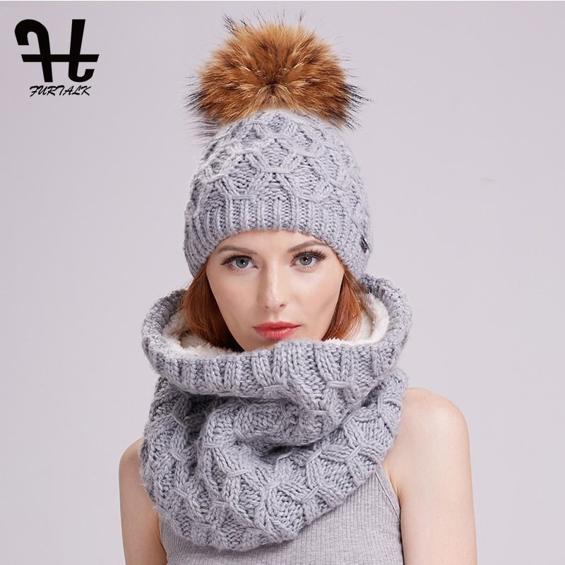Furtalk winter women knitted hat and scarf set raccoon fur pom pom beanie hat scarves for girls