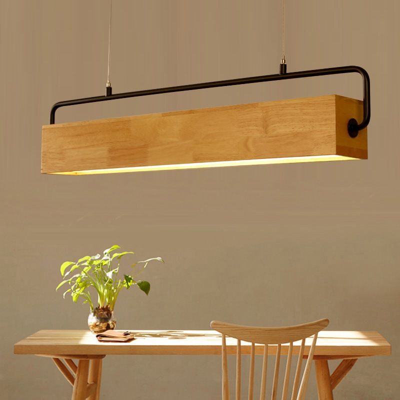 Modern Wood Pendant Light Nordic Long Bar Hanging Lamp Study Restaurant Dining Room Office Droplight