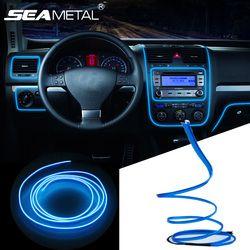 3 м/5 м автомобиля 12 В LED Холодные огни гибкий неон el wire авто лампы на автомобиль холодной полосы света линии интерьера разветвитель прикурива...