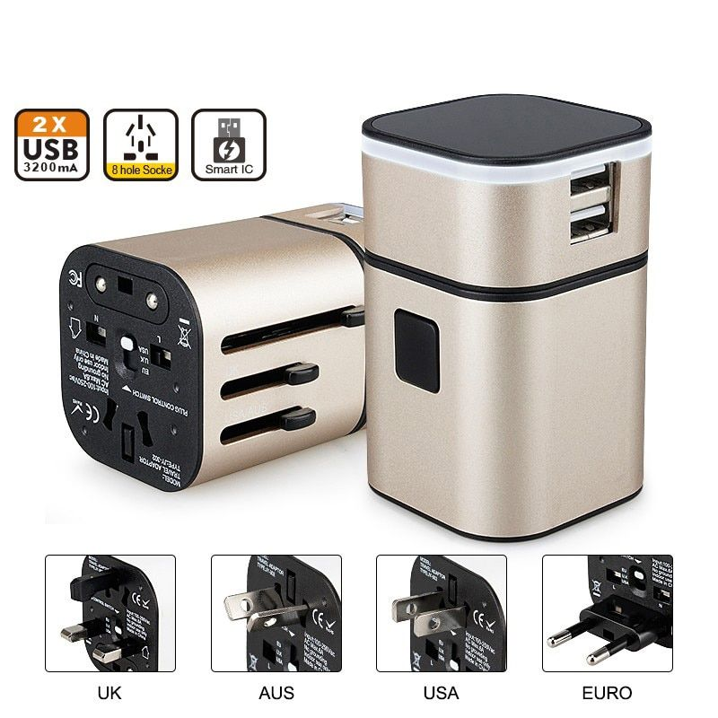 Perfect Travel Adapter Separable usb Charging Portable Power Socket Worldwide Use for US/UK/EU/AU International Travel Converter