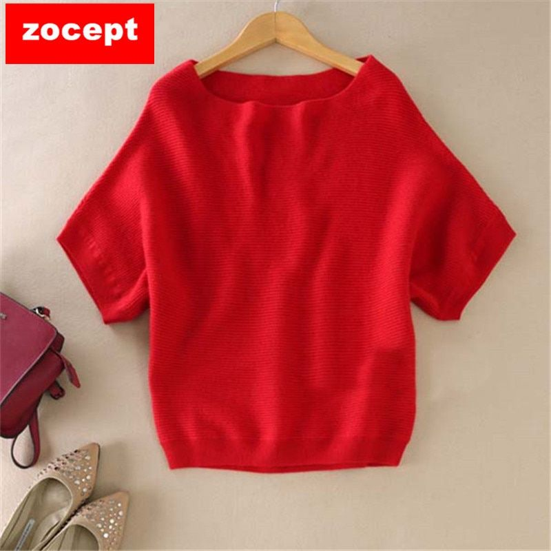 zocept 2018 High-Quality <font><b>Cashmere</b></font> Sweater Women Loose Casual Big Bat Shirt Short-Sleeved Kintted Soft and Comfortable Pullovers