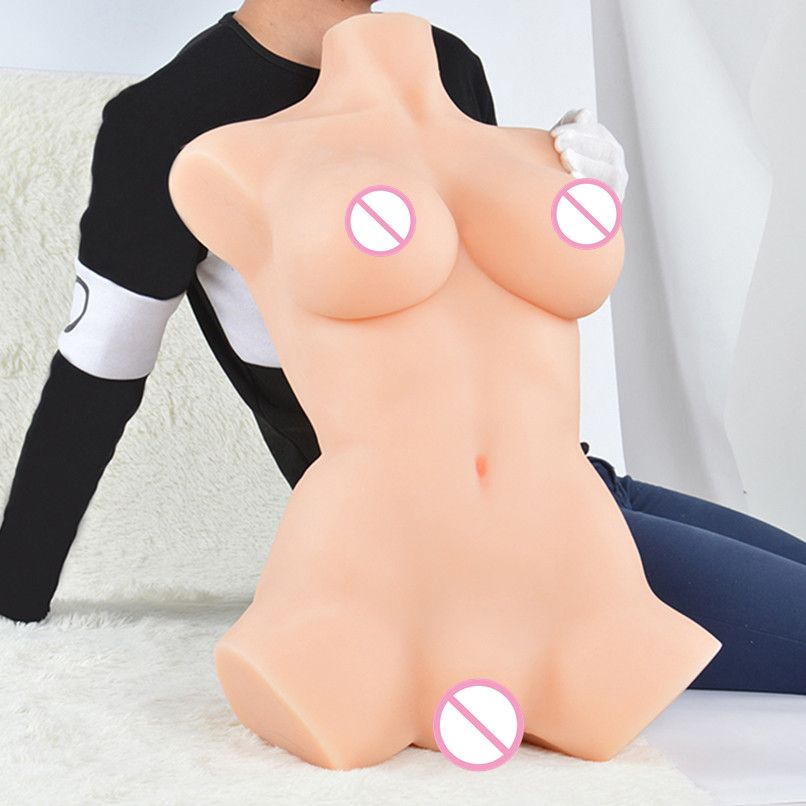 18kgs 72cm fresh solid lifelike full silicone sex doll torso Masturbation for male with Skeleton inside and vagina anal
