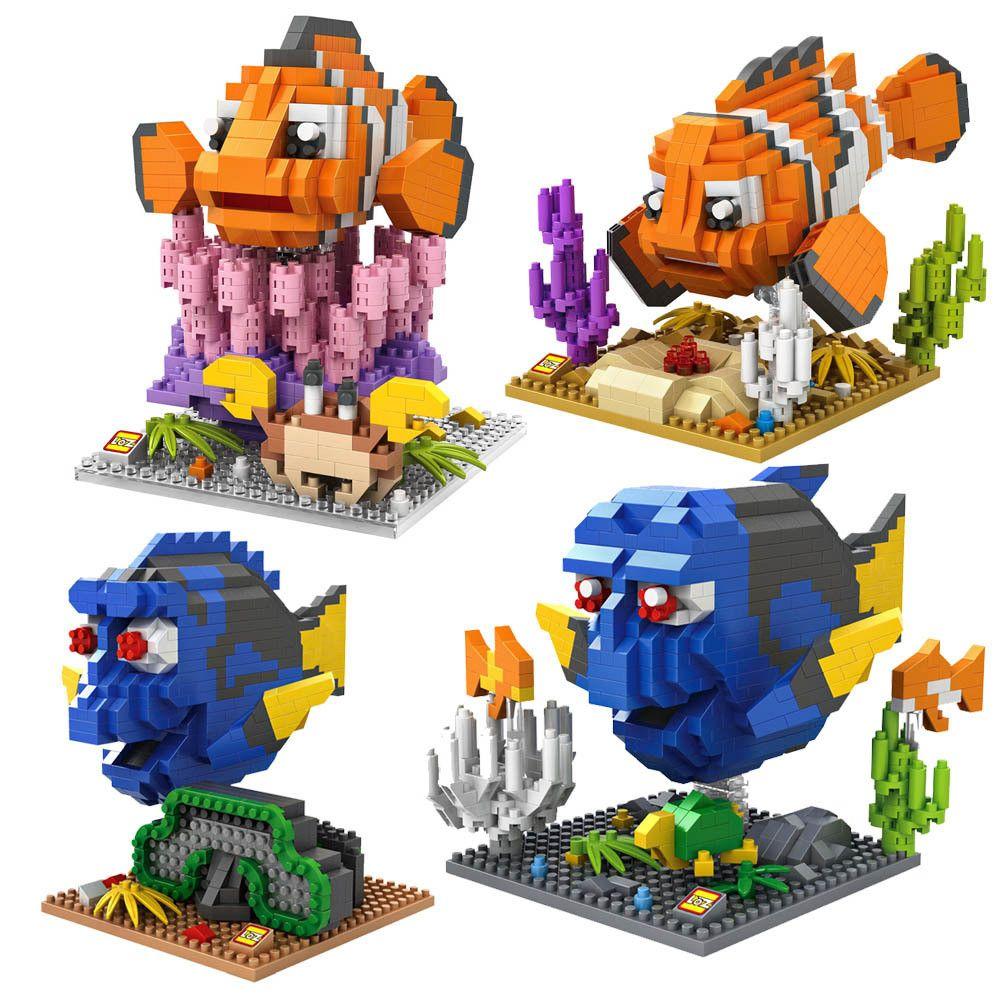 LOZ bloc figurine diamant bloc de construction trouver Nemo Clownfish Dory Figure Marlin Charlie Anime jouets noël cadeaux 9726