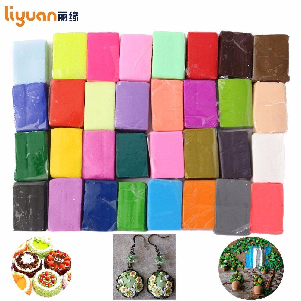 Liyuan polymère argile four cuit coloré modélisation moulage 32 blocs créatif bricolage malléable Fimo cadeau pour enfant