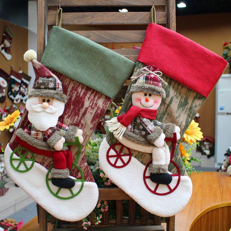 2017 Marry Christmas Stocking Calcetín Caliente Decoración Artesanal de Papá Noel de la Felpa Suave Muñeca de Peluche Juguetes Para Niños Kid Regalo Adornos