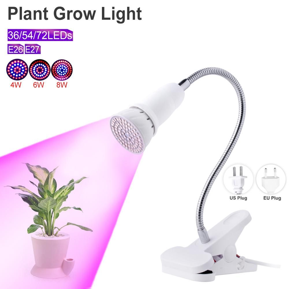 TSLEEN E27 E26 LED Grow Light Phyto Lamp For Hydroponics Flowers Plant 4W 6W 8W Growing Lamp Indoor Desktop 220V 110V Red+Blue