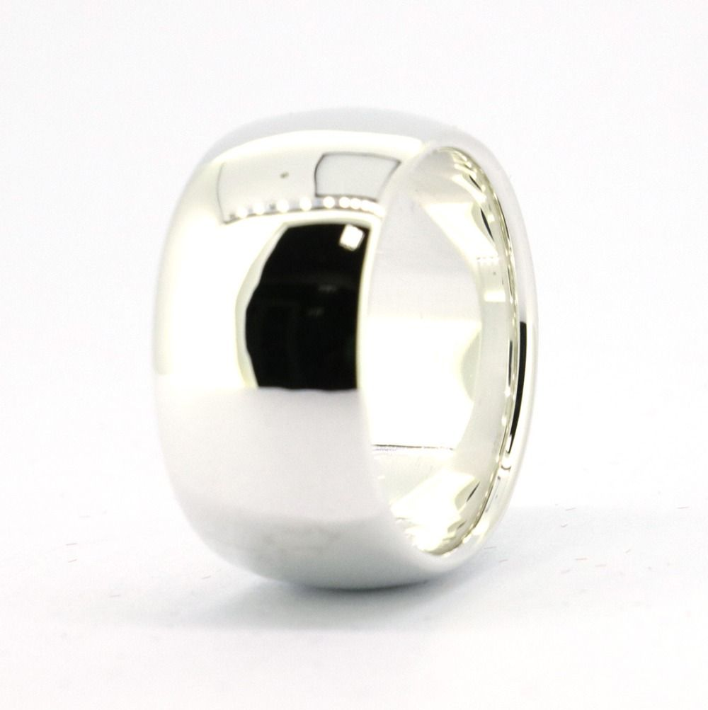Wellmade 12mm Solid 925 Sterling Silver Plain Band Ring