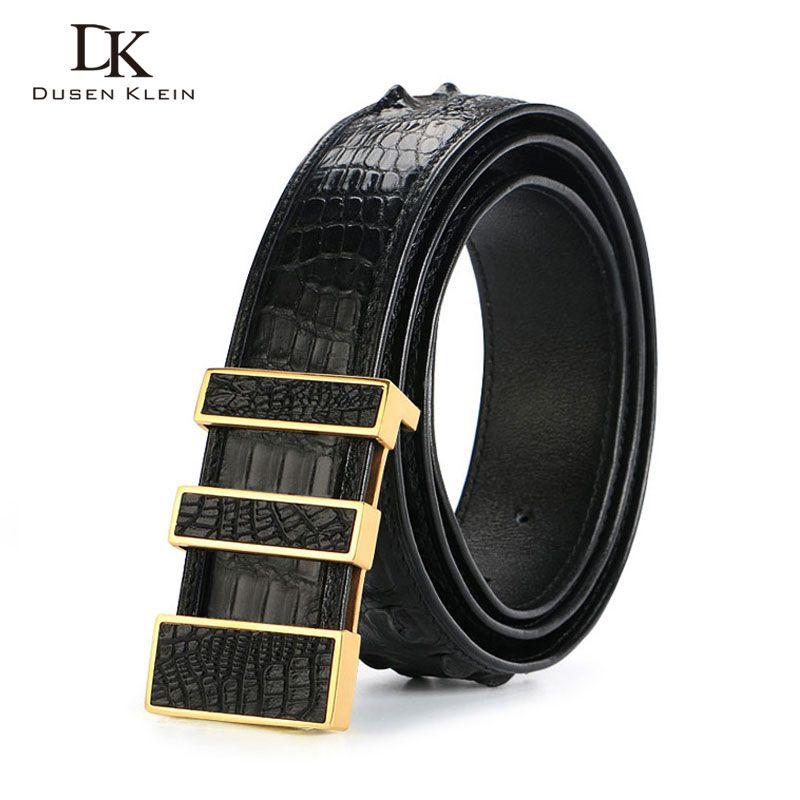 Thailand luxury men's crocodile leather belt male Dusen Klein Stainless steel buckle nature crocodile high-grade belt DK-E368