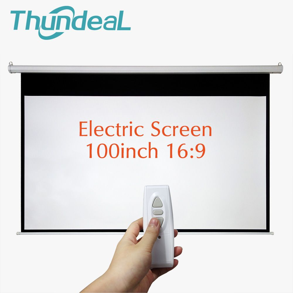 ThundeaL 100 inch 16:9 Electric Projector Screen Home Cinema Business School Bar Motorized LED DLP Projection Screen Electric