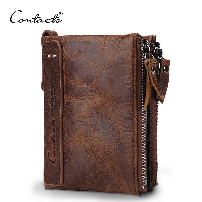CONTACT'S HOT Crazy Horse cuir de vachette hommes portefeuille court porte-monnaie petit Vintage portefeuilles marque de haute qualité Designer