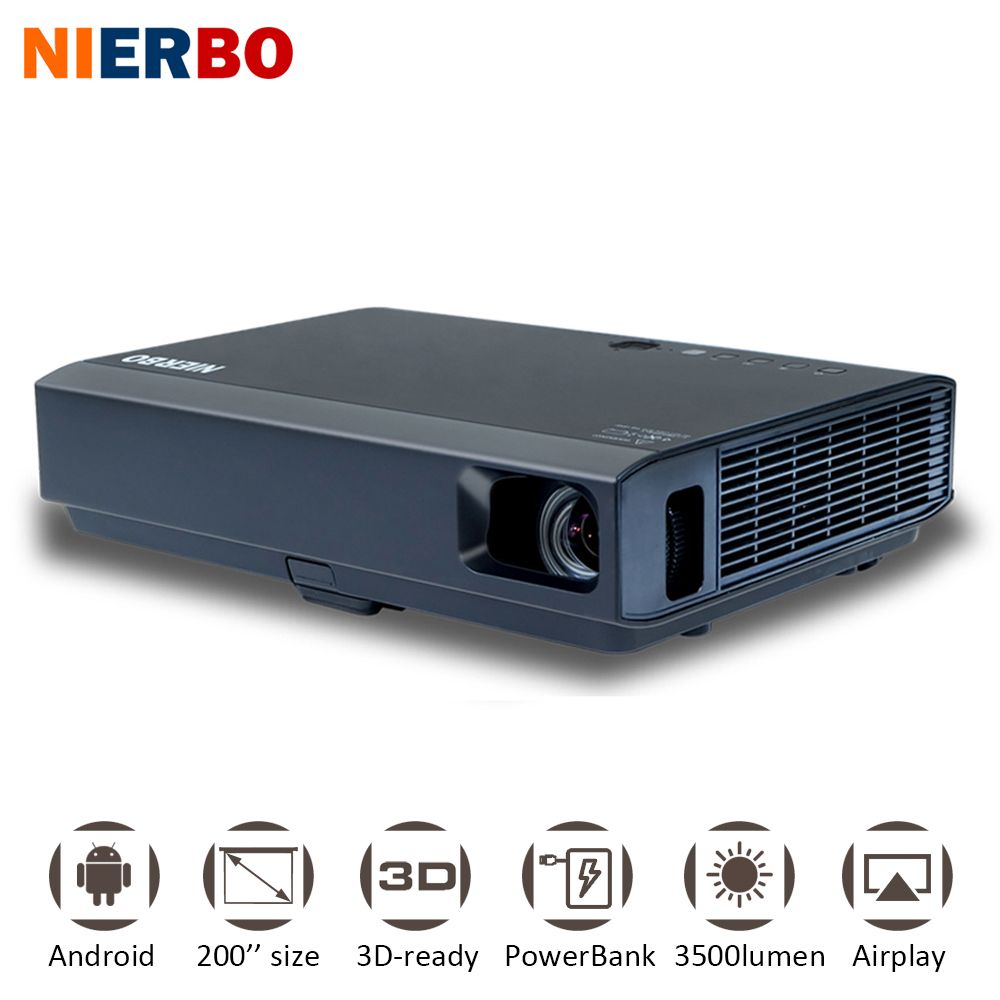 NIERBO 3500 Lumens Android Projector IMAX 3D 1080P Wireless Portable Projector LED Battery Outside Home Cinema HDMI VGA USB