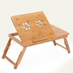 Plegable de bambú portátil Mesa portátil mesa de ordenador ajustable sofá cama Mesa portátil con ventilador de refrigeración portátil Notebook cama