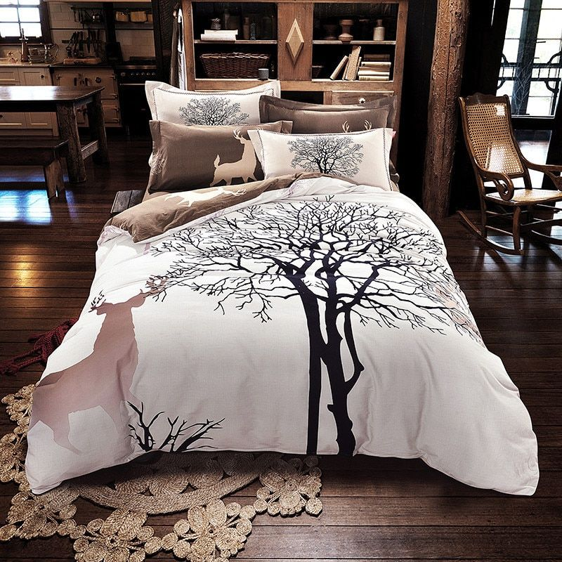 Garden style trees deers 4pcs bedlinens high quality thick sanding cotton Queen/King Size duvet cover+flat sheet+pillowcases