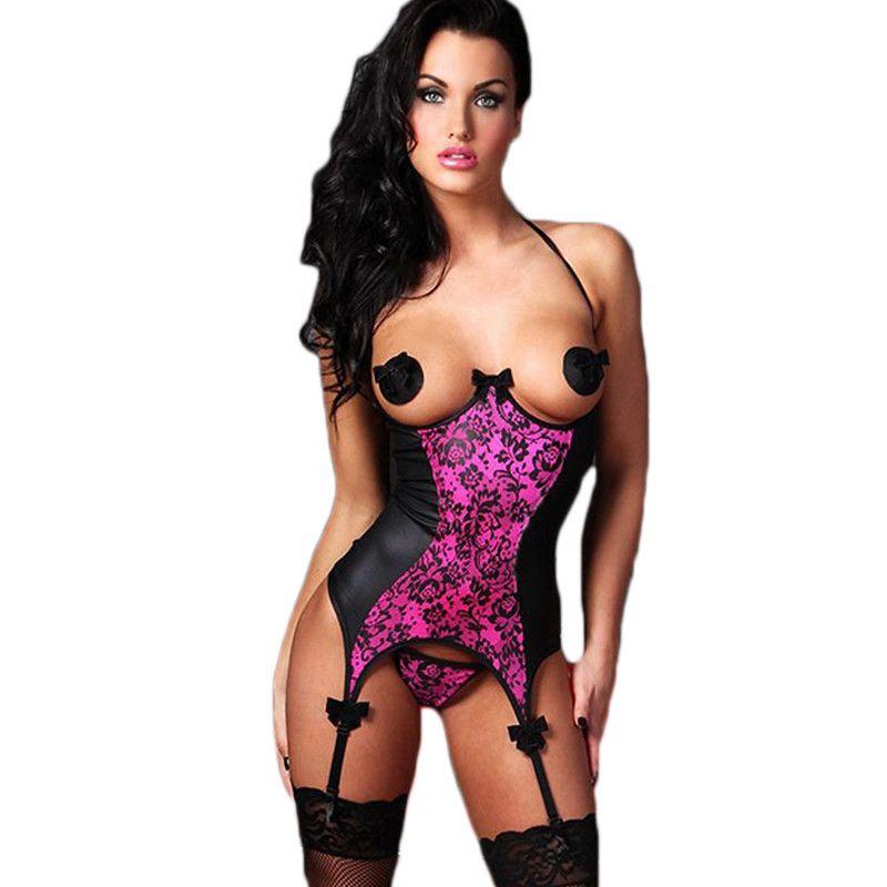 Горячие Большие размеры сексуальное женское белье бюстье + стринги женские большие размеры пеньюары тенденции моды открытое межножье Cupless ...
