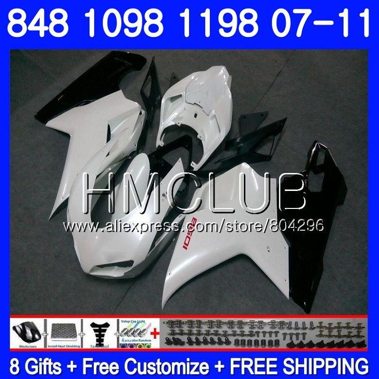 Kit Für DUCATI 848R 1098R 848 1098 1198 07 08 09 10 11 130HM. 15 1098 s 848 s R 1198 s Perle Weiß 2007 2008 2009 2010 2011 Verkleidung