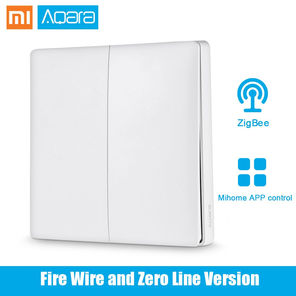 Original Xiaomi Aqara Smart Light Control Fire Wire <font><b>Zero</b></font> Line Double Key Single Key ZiGBee Gateway Wall Switch Mijia APP Control