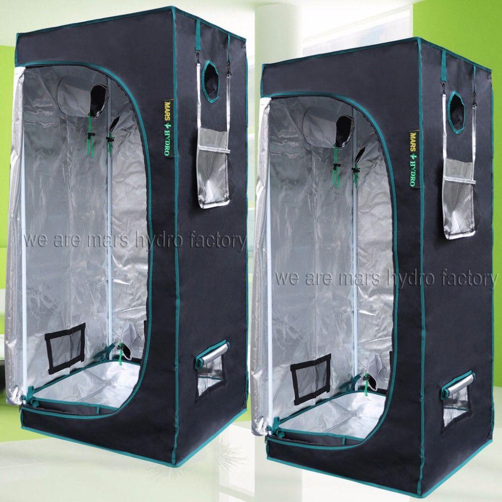 2PCS 1680D MarsHydro Reflective Mylar Hydroponic Grow Tent 70X70X160cm Indoor Growing System,Indoor Garden