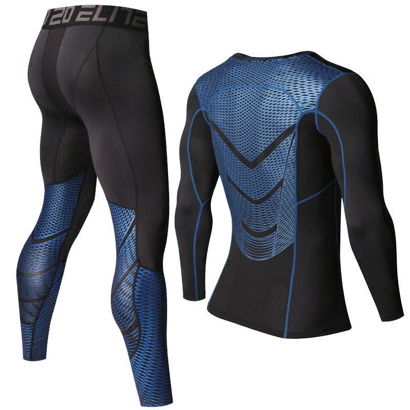 Hommes T chemises Pantalons MMA À Manches Longues T-shirt Hommes de Compression Shirts Fitness Bodybuilding Vêtements MMA Rashguard Sport Costume