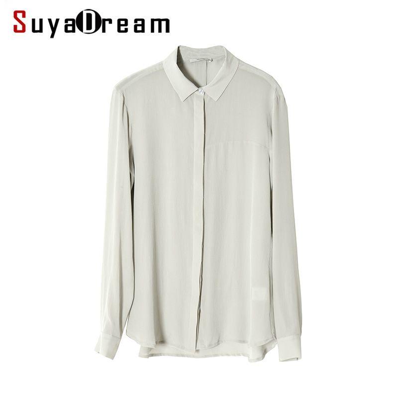 Women SILK SHIRT 23MM Heavy 100% Real silk Button Long sleeved casual Top 2017 Fall Winter New Office Lady shirt Navy Beige Gray