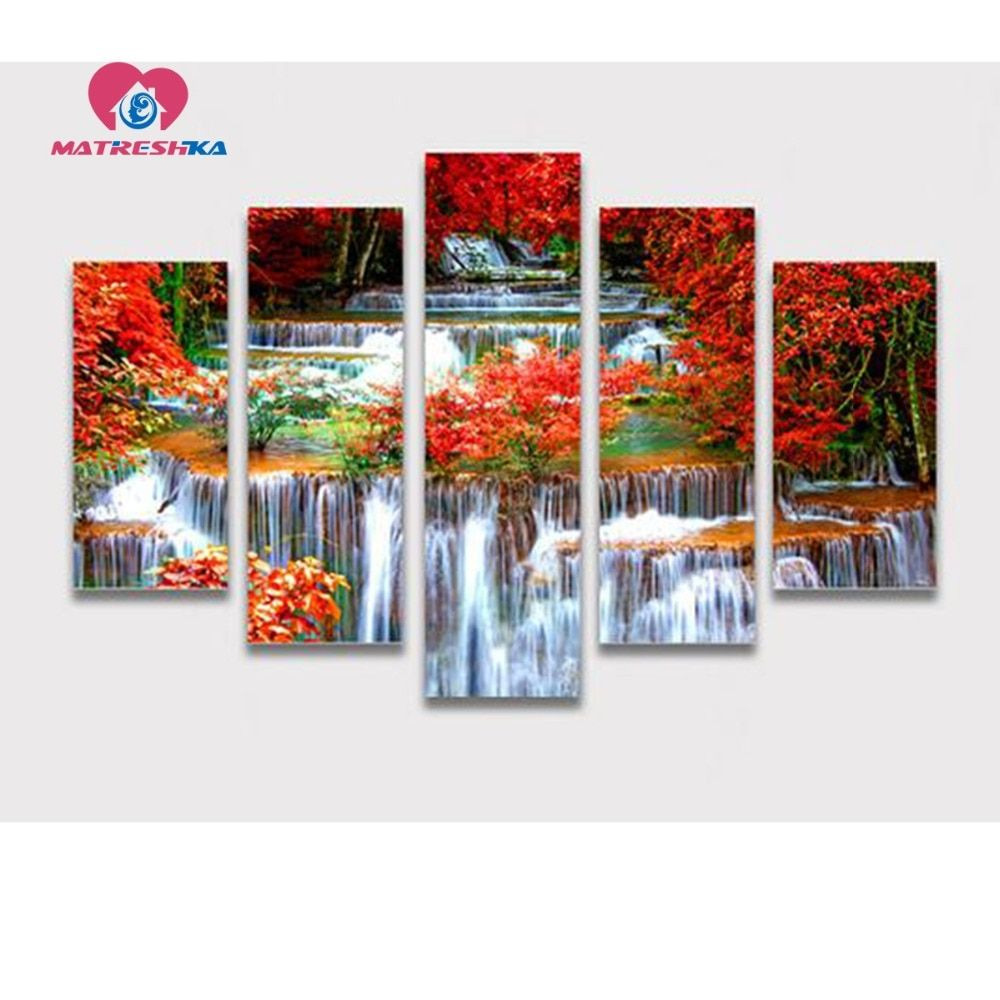 Diamond embroidery full square rhinestones landscape waterfall painting triptych Cross-stitch patterns Mosaic pictures foamiran