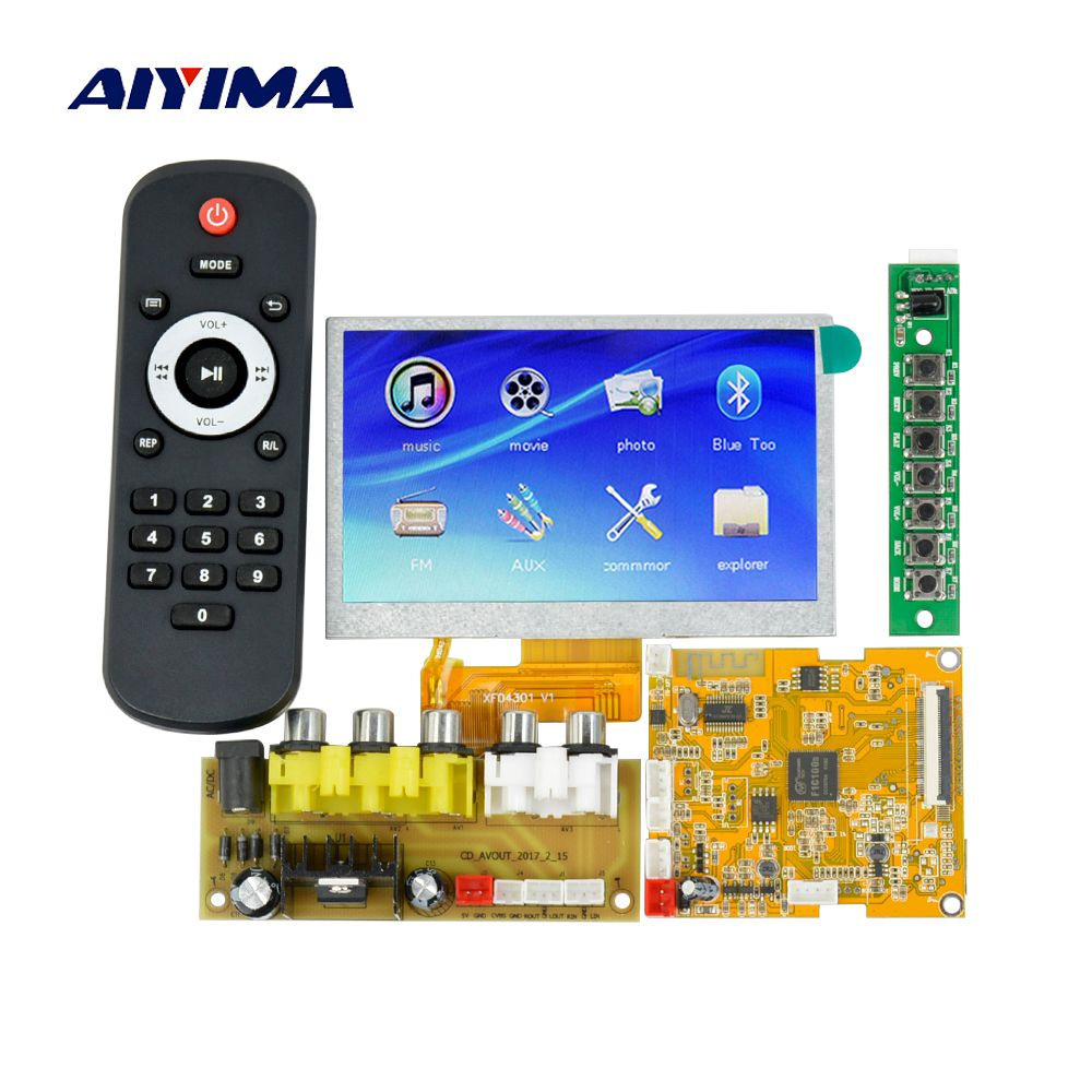Aiyima 4.3Inch LCD Lossless Bluetooth Decoder Board DTS FLAC APE AC3 WAV MP3 Decoder Board Decode Board DC9-12V