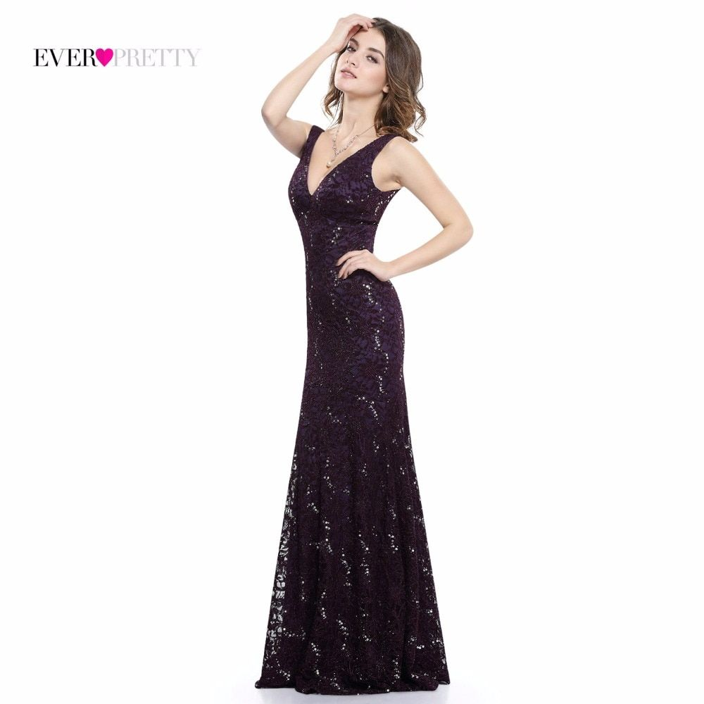 Sexy Prom Dresses Sequined Ever Pretty HE08855 Deep V Neck Natural Waist Sparkle Floor Length Special Party Gowns Prom Dresses
