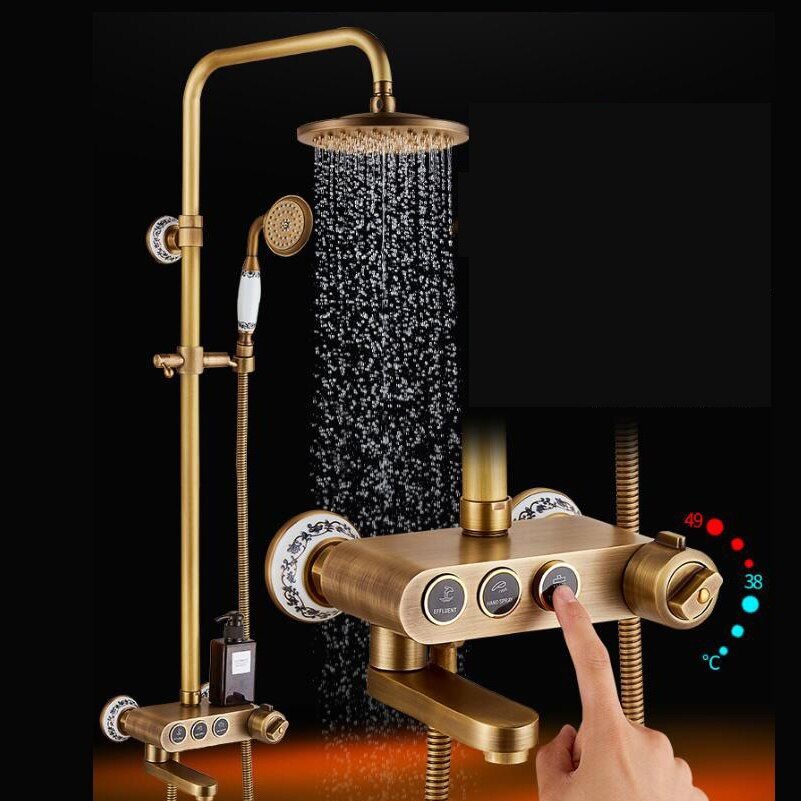 Antique Brass Rainfall Shower Head Faucet Thermostatic Valve Tub Spout Hand Shower Wall Mounted Shower Faucets Sets