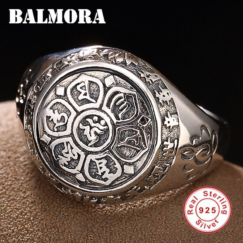 BALMORA 100% Real 925 Sterling Silver Jewelry Buddhistic Six Words' Mantra Being Old Style Rings for Women Men Gift SY20992