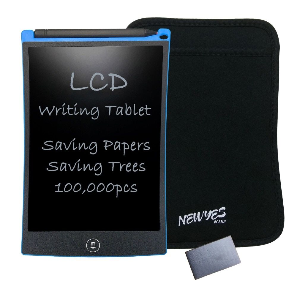 NEWYES Portable Blue 8.5 Inch LCD Writing Tablets eWriter Digital Drawing Handwriting Pads with Sleeve and Magnet Free Shipping