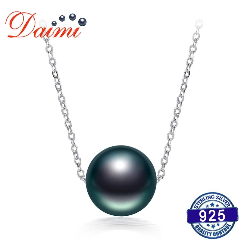 DAIMI en vente 10-11mm collier de perles de tahiti noires collier de chaîne en argent 925 collier pendentif de perle unique bijoux fins