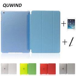 Quwind Ultra Slim три раза искусственная кожа жесткие смарт-чехол для iPad воздуха 1 2 Pro 9.7 10.5 дюймов iPad 2017 с подарком