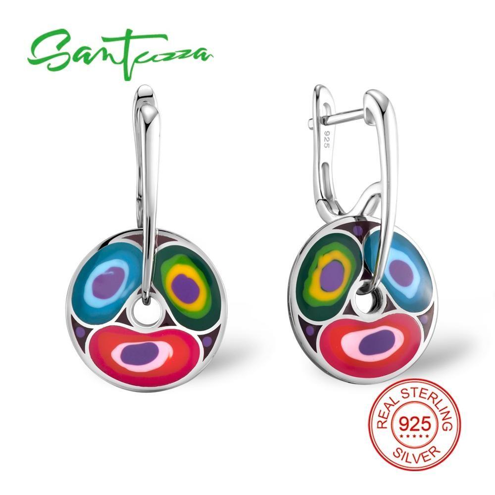 Серебряные серьги для Для женщин разноцветной эмалью Для женщин Серьги партии Модные украшения ручной работы