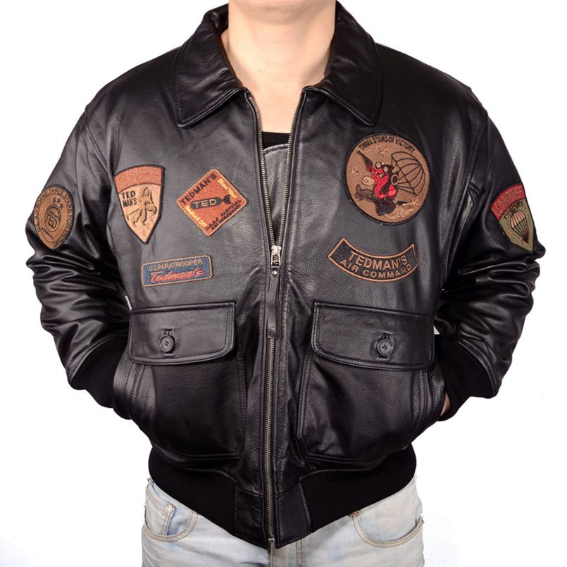 2018 Men Top Gun Leather Pilot Jackets Plus Size Genuine Thick Cowhide Russian Winter Military Leather Pilot Coat Can Customized