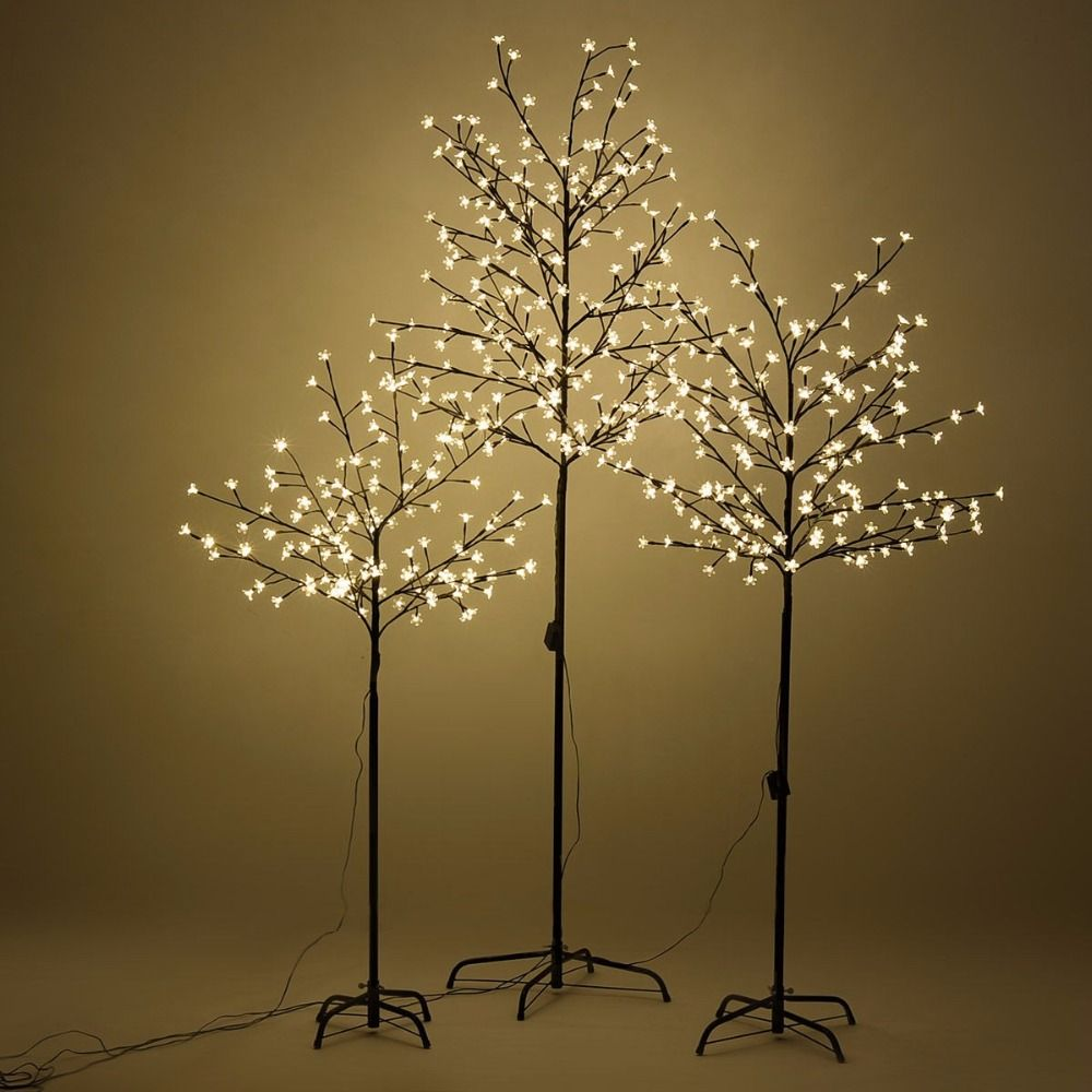 Goplus 1.5/1.8/2.1M Christmas Trees 2017 New Years Xmas Cherry Blossom Tree LED light Outdoor Indoor Decor for Home HW53751