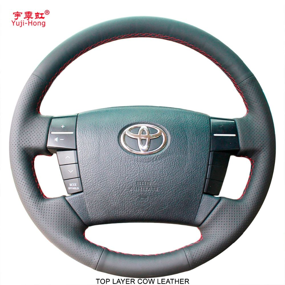 Yuji-Hong Car Steering Covers Case for Toyota MARK X REIZ 2006-2009 Genuine Leather Hand-stitched Top Layer Cow Leather Cover