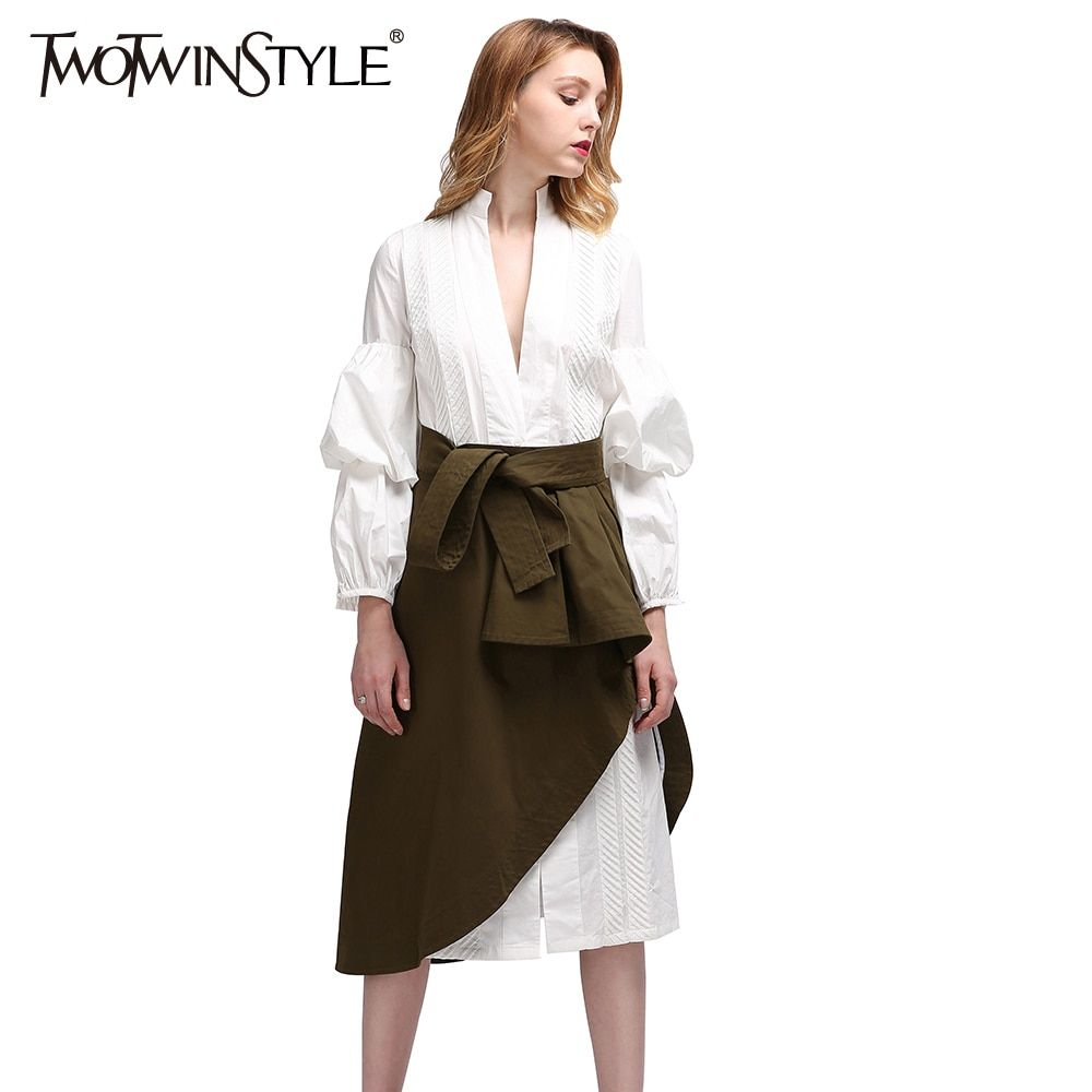 TWOTWINSTYLE 2017 Summer Women Casual Two Pieces Female Deep V Neck White Long Shirt Blouses Army Green Irregular Skirts Fashion