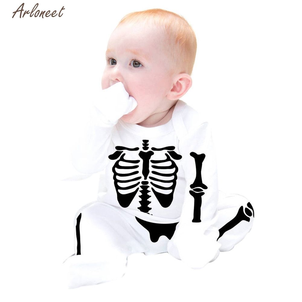 2017 FASHION Newborn Infant Baby Boys Girls Bone Printing Romper Jumpsuit Outfits Clothes OCT Y1031