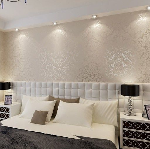 New European Vintage Luxury Damask Wall paper   Embossed Textured Wallpaper Rolls Home Decoration Gold Silver White