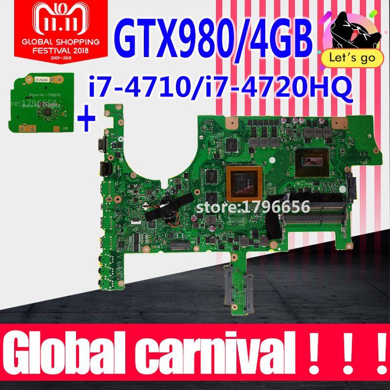 Send board+G751JT Motherboard GTX980M-i7-4710HQ For ASUS G751 G751J G751JY G751JS laptop Motherboard G751JT Mainboard test ok