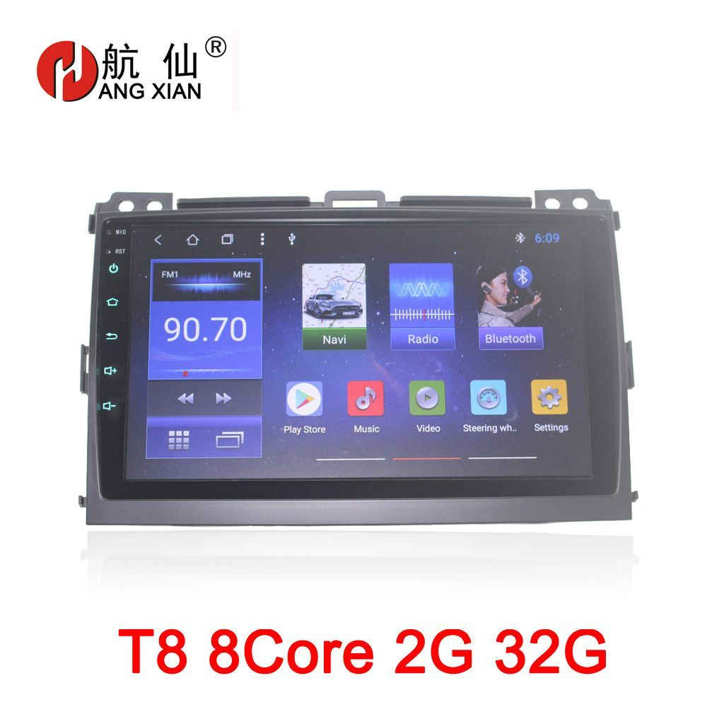 HANGXIAN 9 octa 8core car radio for Toyota Prado 120 2004-2009 Android 8.1 car dvd player with 2G RAM,32G Rom,steering wheel