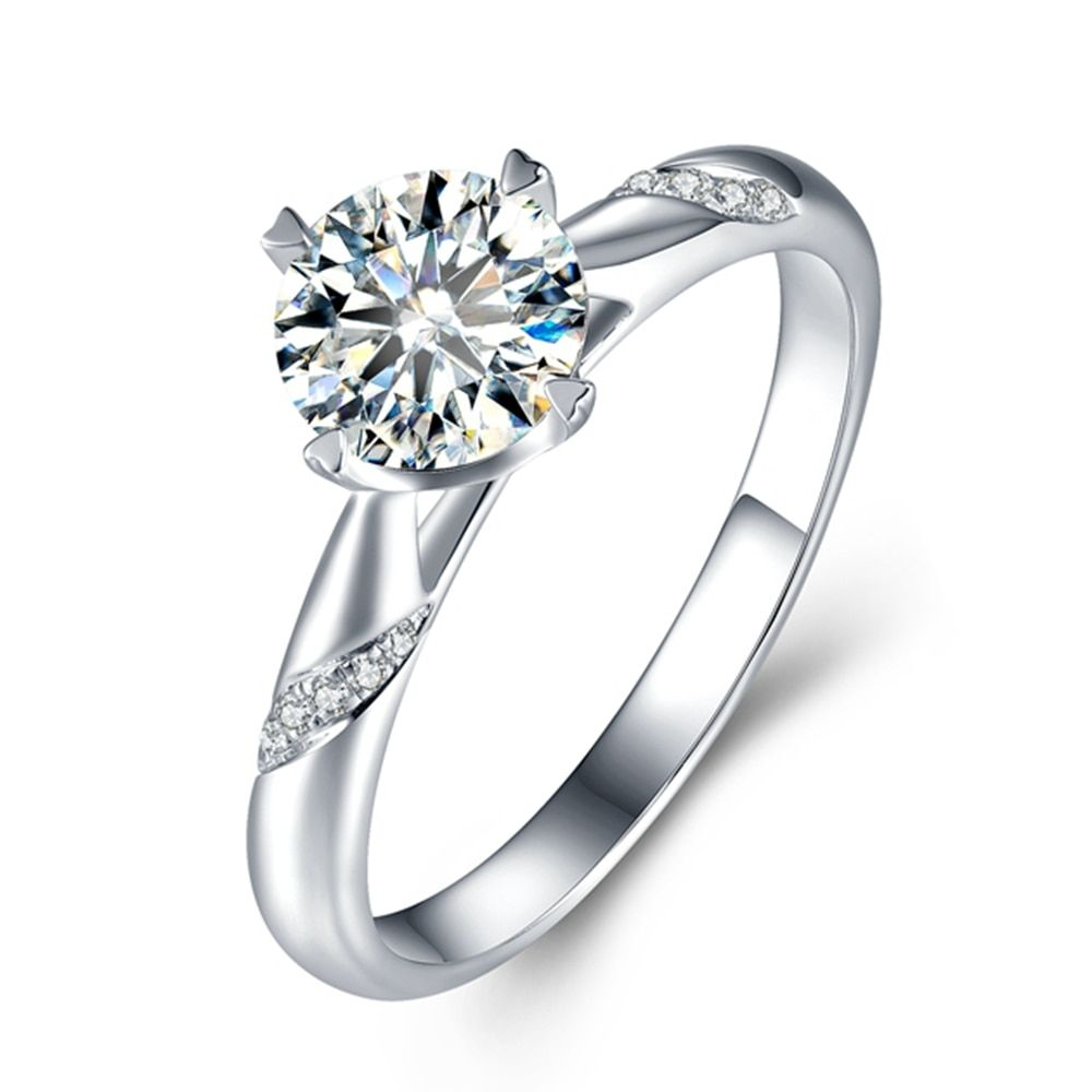 0.5ct Lab Grown Diamond Moissanites 4 Prongs Solitairewith Accents Engagement Ring Moissanite Ring, DEF Color VVS1