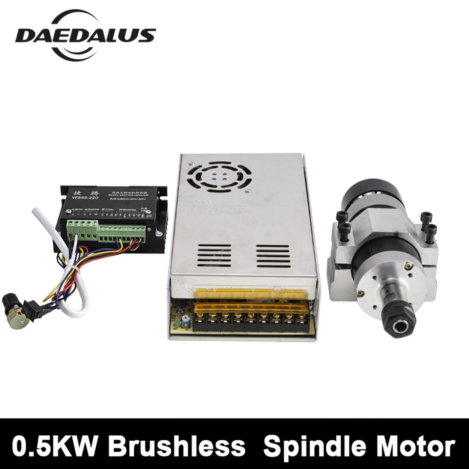 Brushless 500W CNC Router Spindle Motor ER11/ER16 DC Machine Tool Spindle + 55MM CNC Clamp + Stepper Motor Driver + Power Supply