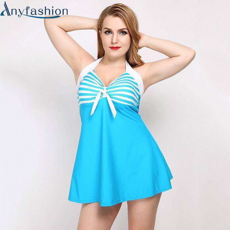 Anyfashion One Piece Swimsuit Push Up Padded Swimwear Summer Beach Women Dress Bathing Suit Large Size Swim Suit For Fat Women