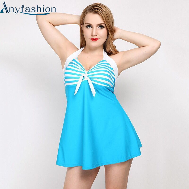 Anyfashion One Piece Swimsuit Push Up Padded Swimwear Summer Beach Women Dress Bathing Suit Large Size Swim Suit For Fat Women