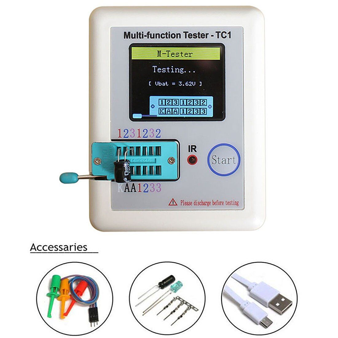 Pocketable Transistor Tester is The LCR - TC1 Full Color Graphics Display