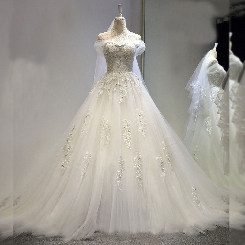 New boat neck collar lace Pregnant women wedding dresses with train size 2-12 (ling)