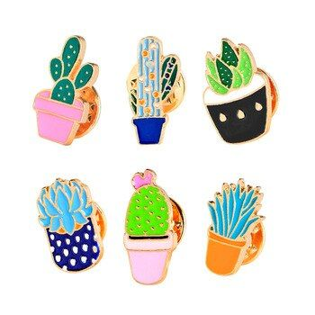 Cartoon Cactus Potted Plant Brooch Enamel Pin Mini Flower Badge Brooches Pins For Women Denim Pin Shirt Badge Collection Broches